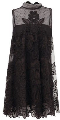 RED Valentino Floral-embroidered Tulle Mini Dress - Womens - Black