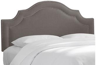 One Kings Lane Bedford Headboard - Cinder Linen - upholstery, gray; nailheads, silver