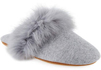 Neiman Marcus Cashmere Fox Fur-Trim Slippers