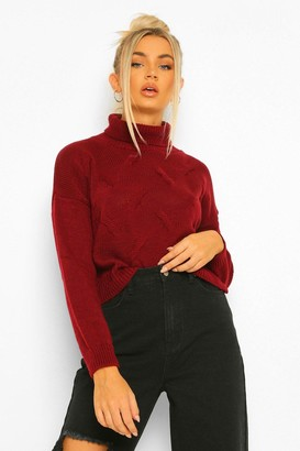 boohoo Petite Roll Neck Cropped Jumper