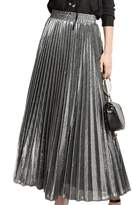 Mupoduvos Women Elegant Solid High Waist Shiny Pleated Swing Party Office Maxi Skirts S