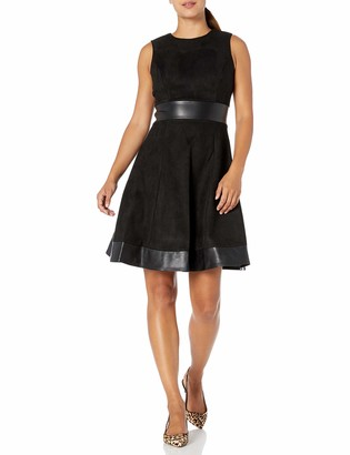 Calvin Klein Women's Round Neck Fit and Flare Dress with Faux Leather Trim