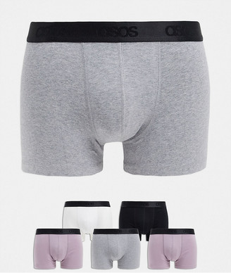 ASOS DESIGN 5 pack trunks in organic cotton with branded waistband save