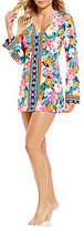 LaBlanca La Blanca Tropicali Geo Print V-Neck Long Sleeve Tunic Cover-Up