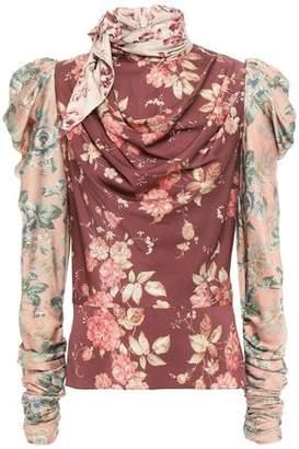 Zimmermann Draped Tie-neck Floral-print Silk-blend Blouse