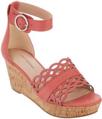 Isaac Mizrahi Live! Leather Wedge Sandals