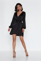 Nasty Gal Womens Touch And Go Wrap Satin Dress - Black - 4, Black