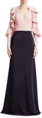 David Meister Ruffle Sleeve Gown