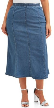 Just My Size Women's Plus Size Pull On Denim Gore Skirt