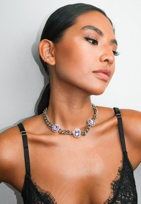 Missguided Stone Chain Necklace