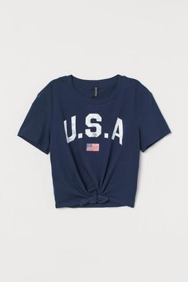 H&M Tie-hem T-shirt - Blue