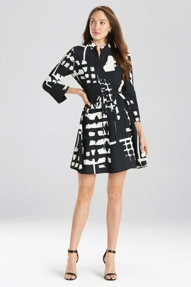 Natori Block Print Crepe Shirt Dress
