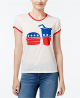 Mighty Fine Juniors' Election Food Graphic Ringer T-Shirt