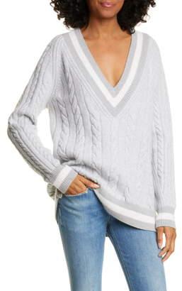 Rag & Bone Theon Merino Wool Plunge Neck Tennis Sweater