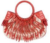 Nancy Gonzalez Crocodile-Trimmed Coral Handle Bag