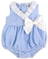 Baby Essentials Blue & White Pinstripe Ruffle Bubble Bodysuit - Infant
