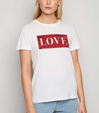 New Look Floral Box Love Slogan T-Shirt