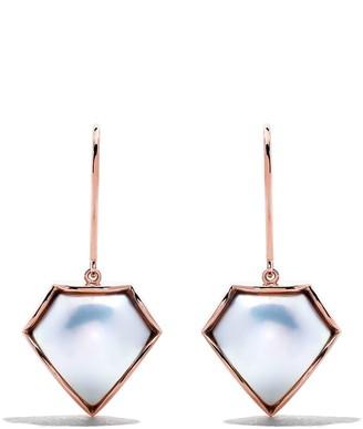 18kt rose gold FACETED M/G TASAKI Mabe pearl earrings