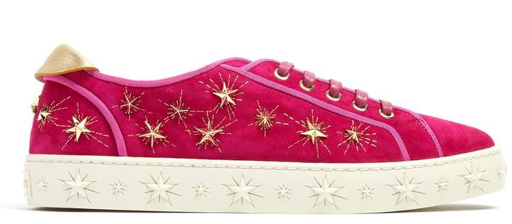 Aquazzura Cosmic Star embellished suede trainers