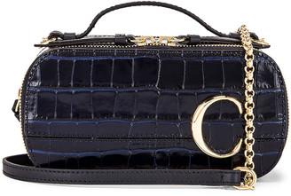 Chloé Mini C Embossed Croc Vanity Bag in Full Blue | FWRD