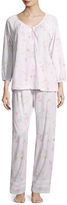 Midnight by Carole Hochman Women's Jersey Long Cotton Floral Pajama Set