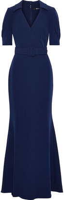 Badgley Mischka Wrap-effect Belted Stretch-crepe Gown