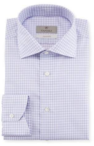 Canali Impeccabile Textured Check-Print Dress Shirt, Purple