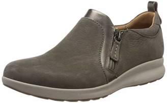 Clarks Women's Un Adorn Zip Loafers, Grey (Taupe Combi