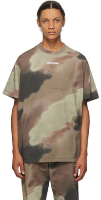 Off-White Green and Brown Camo Barrel Worker T-Shirt