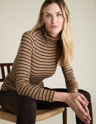 Marks and Spencer Striped Ribbed Roll Neck Long Sleeve Top