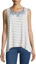 Max Studio Striped Embroidered-Neck Tank, Off White/Ocean