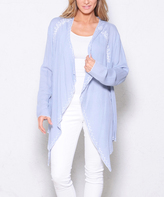 Paparazzi Light Blue Embroidered Open Cardigan