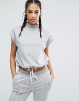 adidas Tokyo Pinstripe High Neck Top With Drawstring Waist