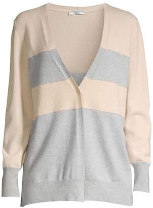 Peserico Colorblock Striped Wool, Silk & Cashmere Cardigan