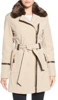 Via Spiga Detachable Faux Fur Collar Belted Soft Shell Coat