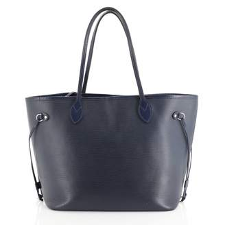 Louis Vuitton Neverfull Blue Leather Handbags