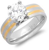 Simulated Diamond & Two-Tone Round-Cut Ring