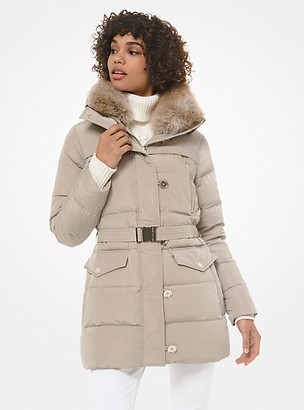 Michael Kors Faux Fur-Trim Quilted Tech Belted Puffer Coat