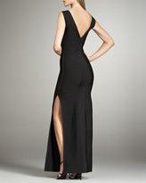 Herve Leger Sleeveless Bandage Maxi Dress with Slit