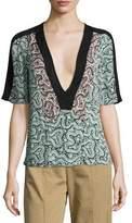 A.L.C. Lilias Short-Sleeve Abstract Silk Top, Green