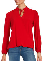 MICHAEL Michael Kors Textured Mock-Wrap Long Sleeve Blouse