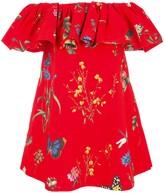 Oscar de la Renta Floral Print Off-The-Shoulder Dress
