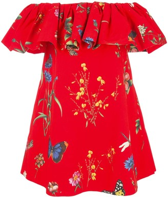Oscar de la Renta Floral Print Off-The-Shoulder Dress