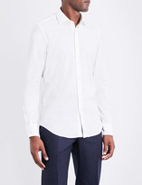SLOWEAR Flecked slim-fit brushed-cotton shirt