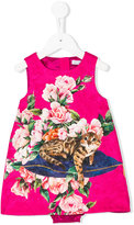 Dolce & Gabbana floral cat print brocade dress