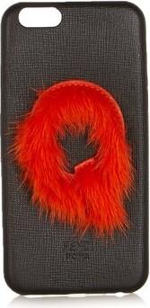 Fendi Leather Iphone 6 Case - Black Orange