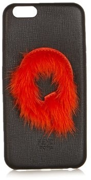 Fendi Leather Iphone 6 Case - Womens - Black Orange