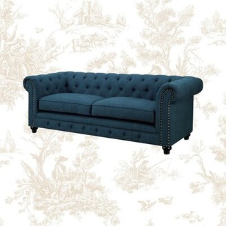 """Darby Home Co Lindstrom Chesterfield 90"""" Rolled Arms Sofa Fabric: Teal Polyester Blend"""