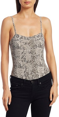 ATM Anthony Thomas Melillo Snakeskin-Print Pima Cotton Bodysuit