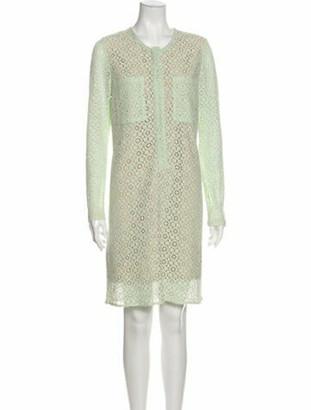 Victoria Beckham Lace Pattern Midi Length Dress Green